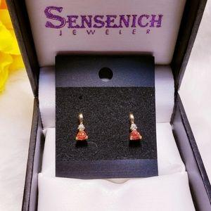10K Genuine Orange Sapphire/Diamond Stud